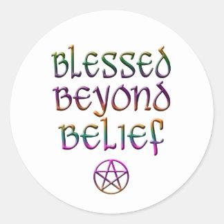 blessed beyond belief classic round sticker