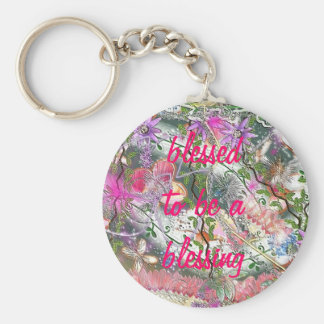 blessed blessing basic round button key ring