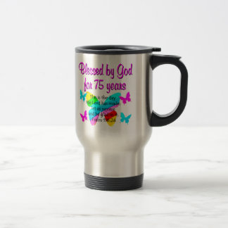 BLESSED BUTTERFLY 75TH BIRTHDAY DESIGN TRAVEL MUG