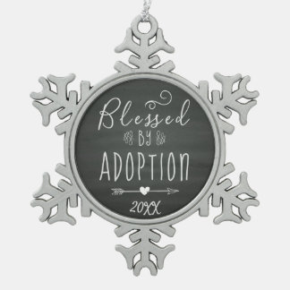 Blessed by Adoption - Foster Care, Adopt Gift Snowflake Pewter Christmas Ornament