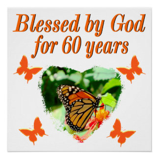 BLESSED BY GOD 60TH BIRTHDAY BUTTERFLY DESIGN