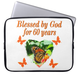 BLESSED BY GOD 60TH BIRTHDAY BUTTERFLY DESIGN COMPUTER SLEEVE