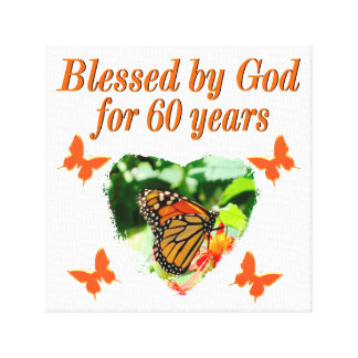 BLESSED BY GOD 60TH BIRTHDAY BUTTERFLY DESIGN GALLERY WRAPPED CANVAS