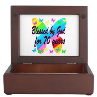 BLESSED BY GOD 70TH BUTTERFLY DESIGN KEEPSAKE BOXES