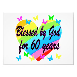 BLESSED BY GOD FOR 60 YEARS HEART DESIGN ART PHOTO