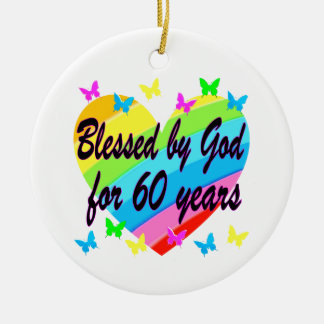 BLESSED BY GOD FOR 60 YEARS HEART DESIGN CHRISTMAS ORNAMENT