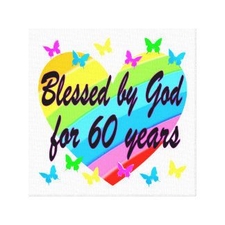 BLESSED BY GOD FOR 60 YEARS HEART DESIGN GALLERY WRAPPED CANVAS