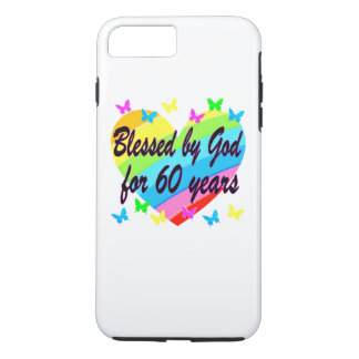 BLESSED BY GOD FOR 60 YEARS HEART DESIGN iPhone 7 PLUS CASE