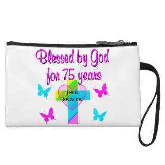 BLESSED BY GOD FOR 75 YEARS PERSONALIZED DESIGN WRISTLET CLUTCHES