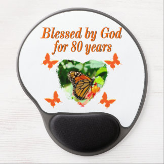 BLESSED BY GOD FOR 80 YEARS BUTTERFLY PHOTO GEL MOUSE PAD