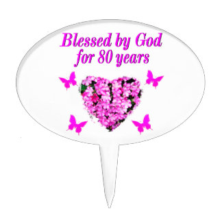 BLESSED BY GOD FOR 80 YEARS FLORAL DESIGN CAKE TOPPERS