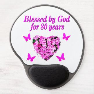 BLESSED BY GOD FOR 80 YEARS FLORAL DESIGN GEL MOUSE PAD