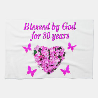 BLESSED BY GOD FOR 80 YEARS FLORAL DESIGN TEA TOWEL