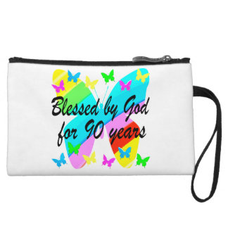 BLESSED BY GOD FOR 90 YEARS WRISTLET CLUTCH