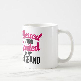 Blessed by GOD spoiled by my husband Basic White Mug
