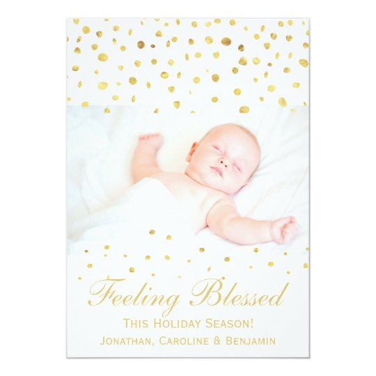 Blessed Christmas Birth Announcement Gold Confetti