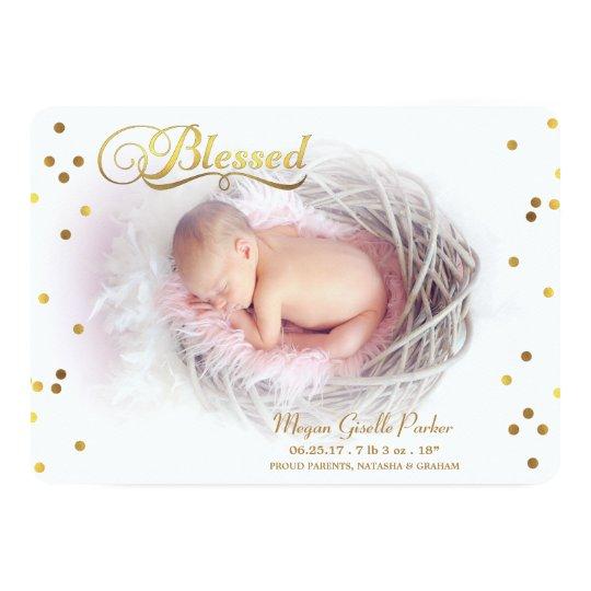 Blessed Gold Confetti Photo Birth Announcement