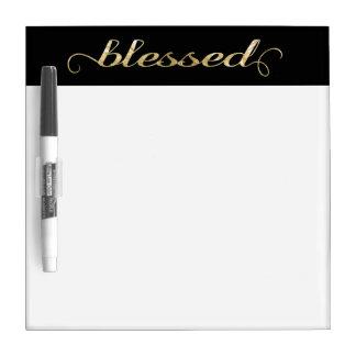 Blessed, Gold Foil-Look Inspirational Grateful Dry Erase Board