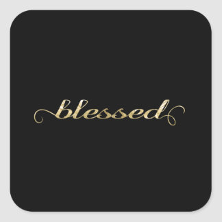 Blessed, Gold Foil-Look Inspirational Grateful Square Stickers
