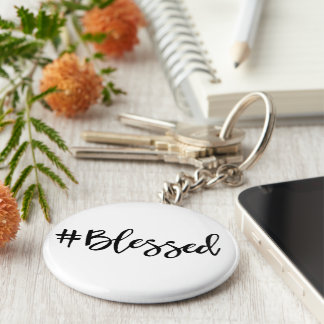 Blessed Hashtag Basic Round Button Key Ring
