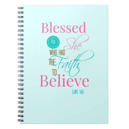 """Blessed is She"" aqua faith journal Spiral Notebooks"
