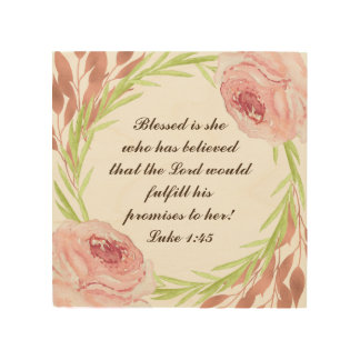 """""""Blessed is she..."""" Wood Sign with a Rosie Wreath"""