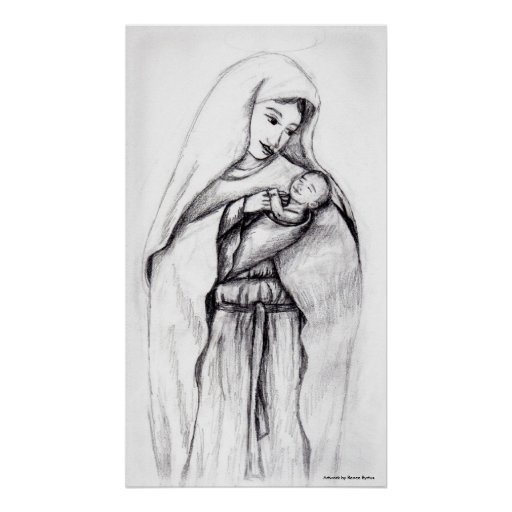 Blessed Mother and Child Poster