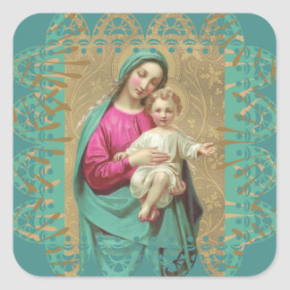 Blessed Mother Baby Jesus Decorative Lace Border Square Sticker