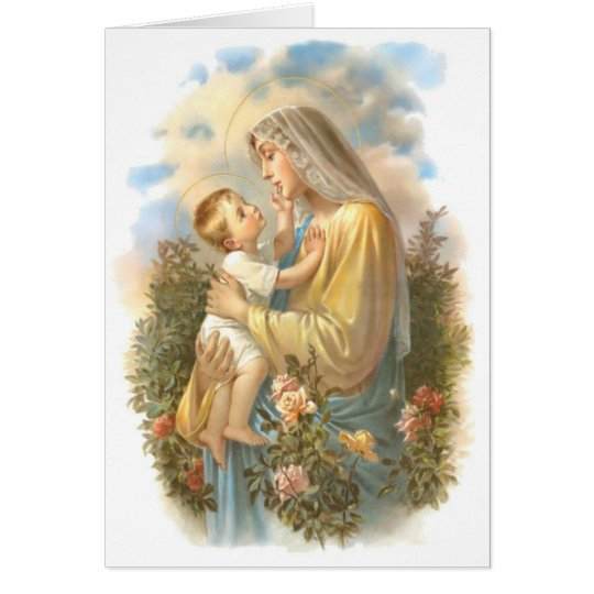 Blessed Mother Baby Jesus with Roses Card