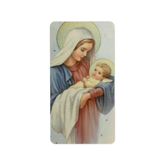 Blessed Mother holding the Child Jesus Address Label