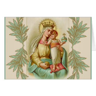 Blessed Mother holding the Child Jesus Globe Card