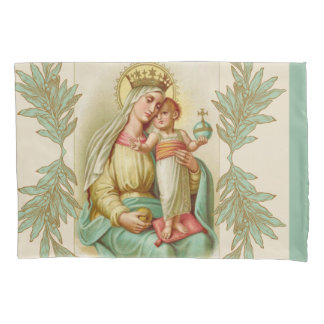 Blessed Mother holding the Child Jesus Globe Pillowcase