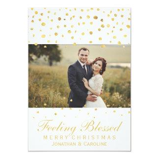 Blessed Newlywed Christmas Gold Confetti Photo 13 Cm X 18 Cm Invitation Card