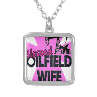 Blessed Oilfield Wife Pink Cross Silver Plated Necklace