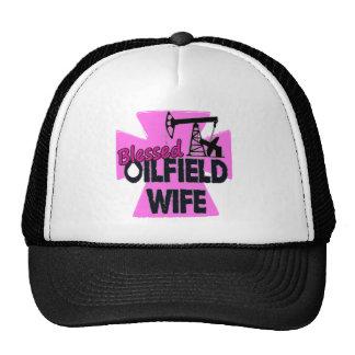 Blessed Oilfield Wife Pink Cross Trucker Hat