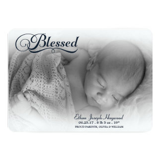 Blessed Photo Boy Birth Announcement Soft Overlay