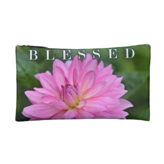 Blessed Pink Dahlia Cosmetic Bag