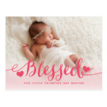 Blessed | Pink Valentine Birth Announcement Postcard