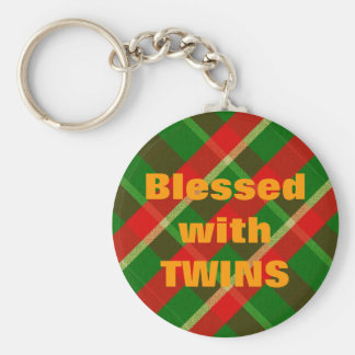 Blessed - Plaid Basic Round Button Key Ring
