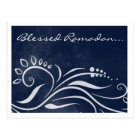 Blessed Ramadan blue ornate islamic greeting Postcard