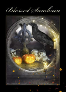 Samhain cards zazzle uk blessed samhain mystical raven greeting card m4hsunfo