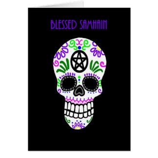Blessed Samhain Pentacle Skull Card