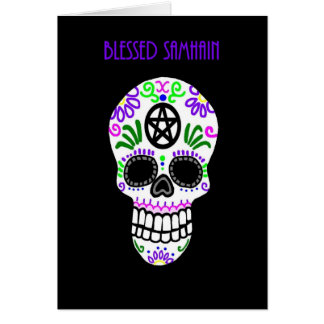 Blessed Samhain Pentacle Skull Greeting Card