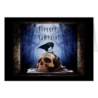 Blessed Samhain - Raven on Skull Card