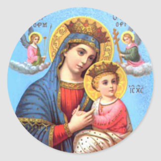 Blessed Virgin Mary and Infant Child Jesus Classic Round Sticker