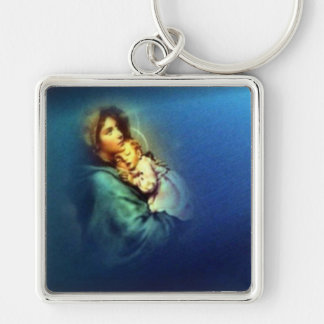 Blessed Virgin Mary and Infant Child Jesus Silver-Colored Square Key Ring