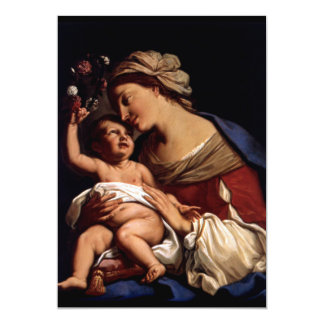 Blessed Virgin Mary and Infant Child Jesus -Sirani 13 Cm X 18 Cm Invitation Card
