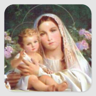 Blessed Virgin Mary and Infant Child Jesus Square Sticker