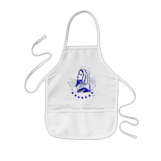 Blessed Virgin Mary Blue Sketch Apron