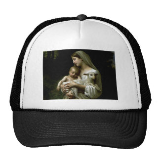 Blessed Virgin Mary Holding Child Jesus and Lamb Cap
